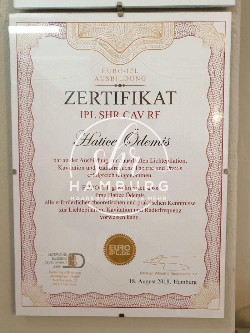 Hatice - Zertifikat - SHR, IPL, Kavitation, Radiofrequenz