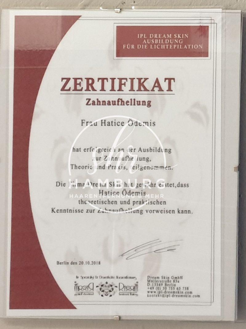 Hatice - Zertifikat - Zahnaufhellung