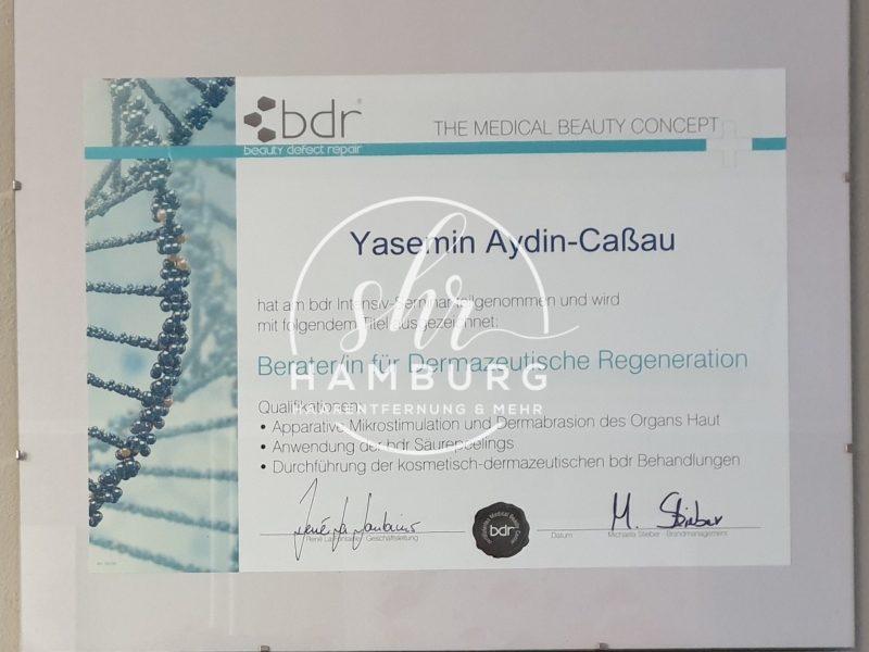 Yasemin - Zertifikat - Dermazeutische Regeneration - bdr