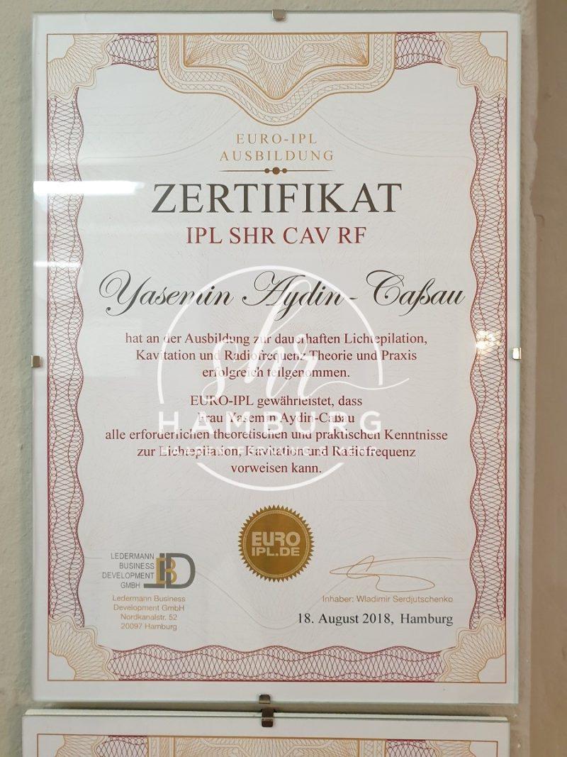 Yasemin - Zertifikat - SHR, IPL, Kavitation, Radiofrequenz