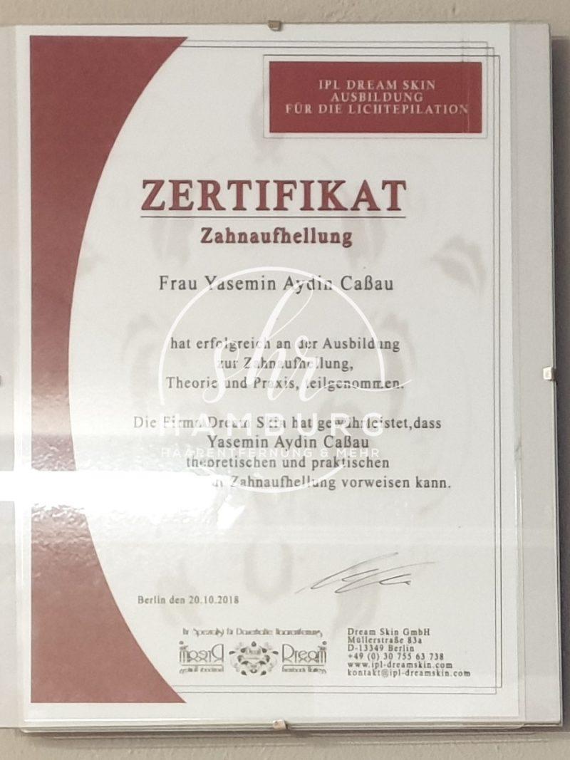 Yasemin - Zertifikat - Zahnaufhellung
